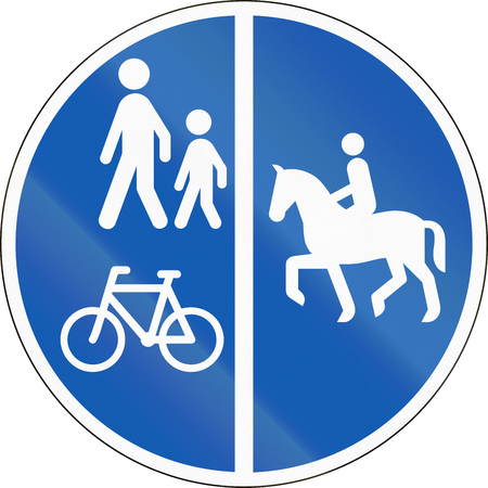 pedestrians: Road sign used in Denmark - Separate lanes for equestrians, pedestrians and cyclists.