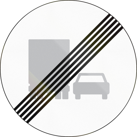 Road sign used in Denmark - End of overtaking by lorries restriction.
