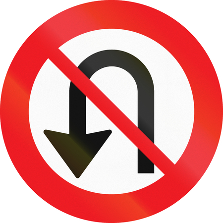uturn: Road sign used in Denmark - No U-turns. Stock Photo