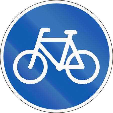 ciclos: La señal de tráfico utilizado en Dinamarca - Pista para bicicletas y ciclomotores. Foto de archivo