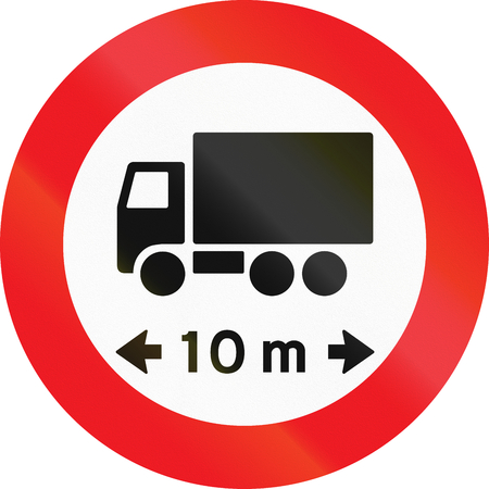 exceeding: Road sign used in Denmark - No vehicles or combination of vehicles exceeding 10 meters. Stock Photo