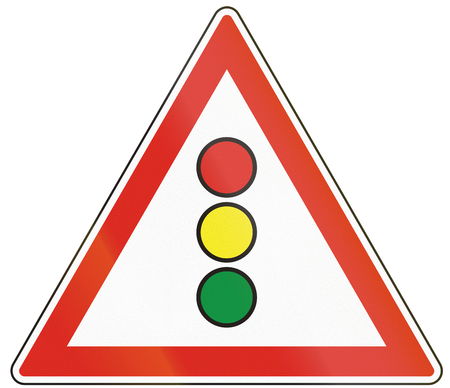 Hungarian warning road sign - traffic signals. Stock Photo