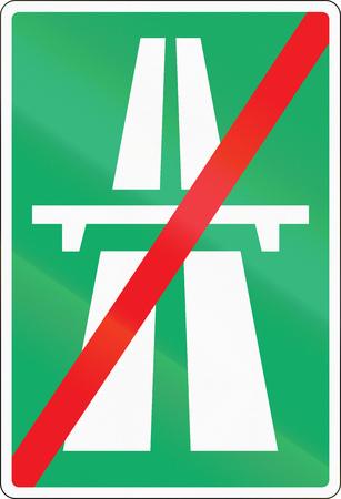 Road sign used in Denmark - End of motorway.