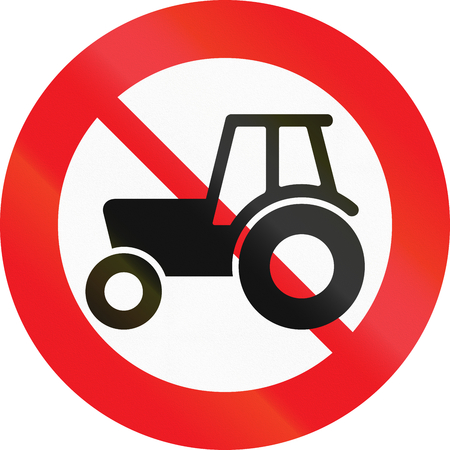 Road sign used in Denmark - No agricultural vehicles.