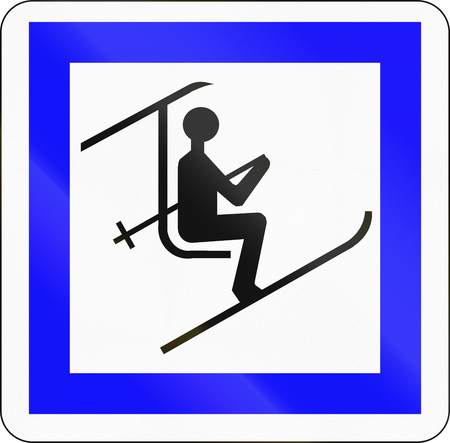 chair on the lift: Road sign used in France - Chair lift. Stock Photo