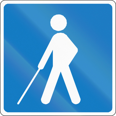 impaired: Road sign used in Denmark - blind people.