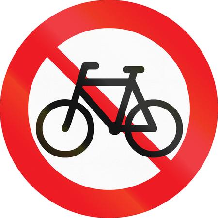 interdiction: Panneau routier utilisé au Danemark - Pas de cycles ou de cyclomoteurs.