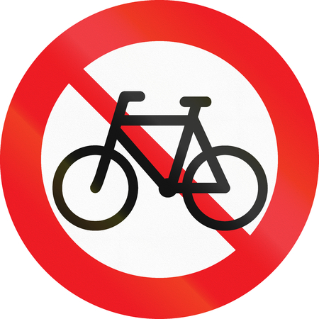 prohibit: Road sign used in Denmark - No cycles or mopeds. Stock Photo