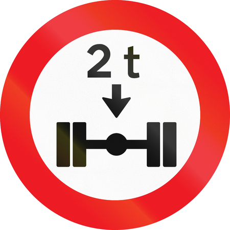 axle: Road sign used in Denmark - No vehicles having a weight exceeding 2 tonnes on one axle. Stock Photo