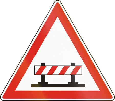 Hungarian warning road sign - Road closed.