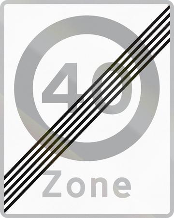 maximum: Road sign used in Denmark - End of maximum speed limit zone.