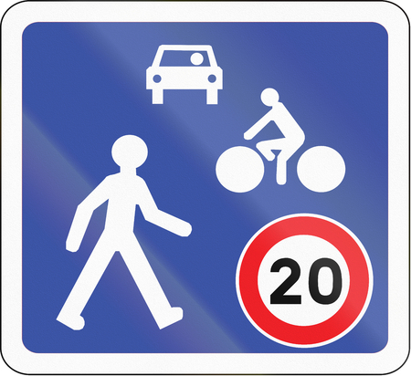 residential zone: Road sign used in France - Home zone entry.
