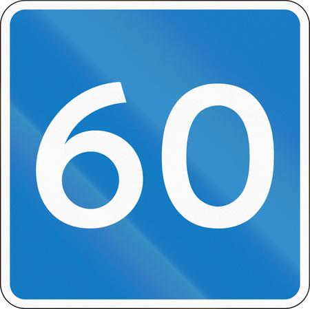 advisory: Danish information road sign - Advisory speed limit.