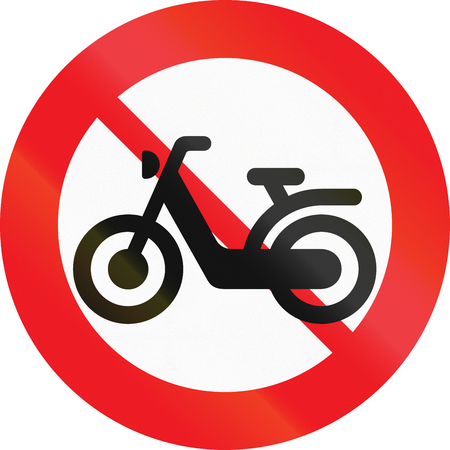 Road sign used in Denmark - No mopeds. Stock Photo