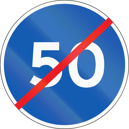end of the road: Road sign used in Denmark - End of minimum speed. Stock Photo