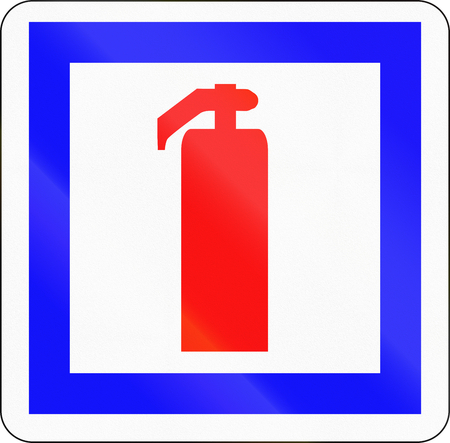 informational: French informational road sign - Fire extinguisher.