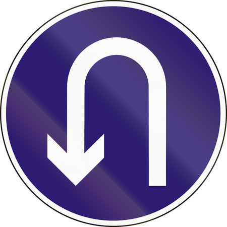 uturn: Road sign used in Hungary - Mandatory U-Turn.