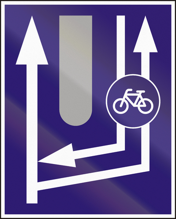 road bike: Informatory Hungarian road sign - Additional two-way bike road begins.