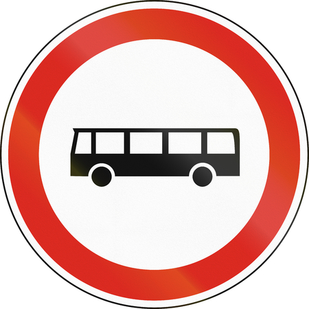 quadratic: Hungarian regulatory road sign - No buses.