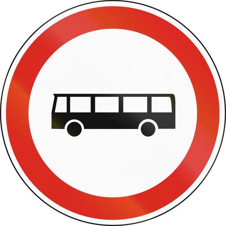 Hungarian regulatory road sign - No buses.