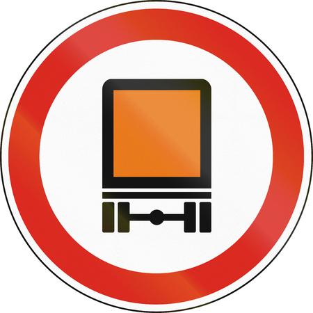 Hungarian regulatory road sign - No vehicles carrying Dangerous goods.