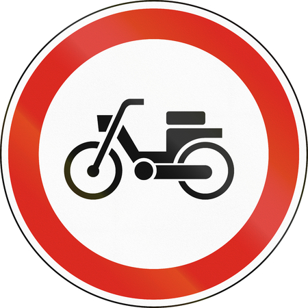 mopeds: Road sign used in Hungary - No mopeds.