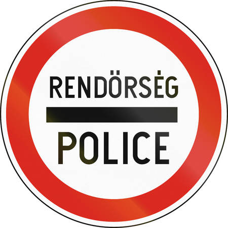 dividing line: Road sign used in Hungary - Police. Rendorseg means police in Hungarian.