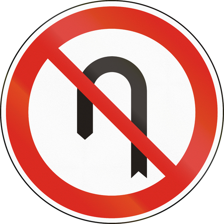 uturn: Hungarian regulatory road sign - No U-Turns.