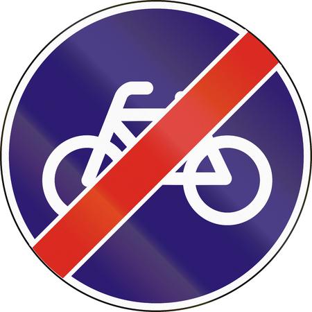 ciclos: La señal de tráfico utilizado en Hungría - Fin de la pista para bicicletas y ciclomotores.