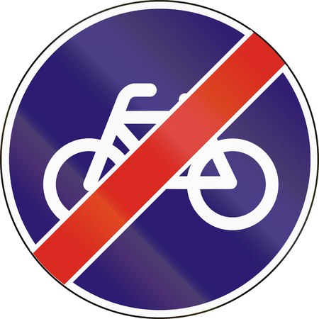 mopeds: Road sign used in Hungary - End of track for cycles and mopeds. Stock Photo