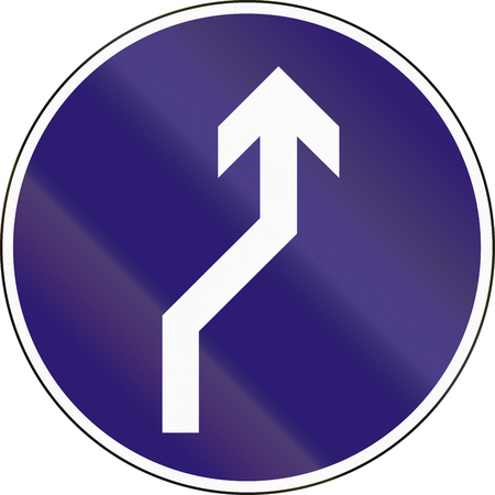 reverse: Road sign used in Hungary - Reverse turn to the right. Stock Photo