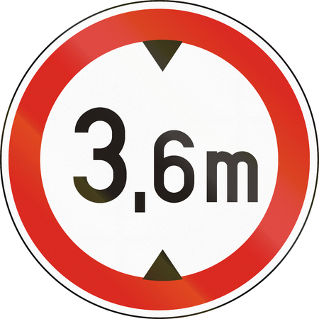Road sign used in Hungary - No vehicles having an overall height exceeding 3,6 meters. Stock Photo