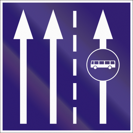 dividing line: Informatory Hungarian road sign - Two lanes with additional bus lane. Stock Photo