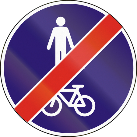 pedestrians: Road sign used in Hungary - End of shared lane for pedestrians and cyclists.