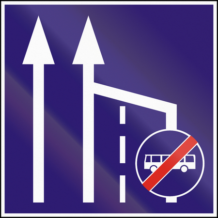 ends: Informatory Hungarian road sign - Additional bus lane ends.