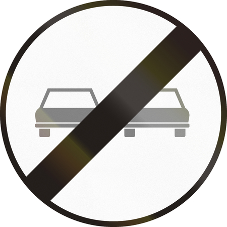 passing the road: Hungarian regulatory road sign - End of no overtaking. Stock Photo