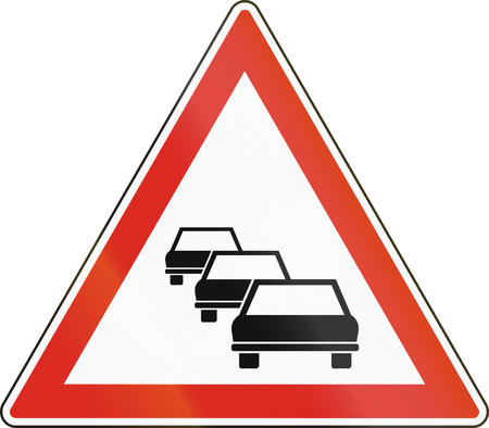 likely: Warning road sign used in Hungary - Traffic queues likely.