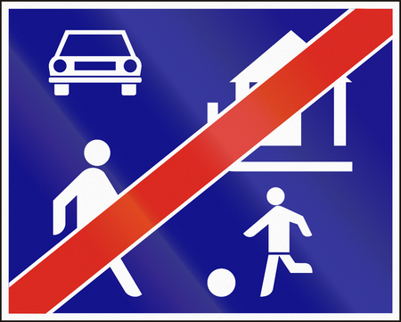 recreation area: Hungarian regulatory road sign - End of recreation area.
