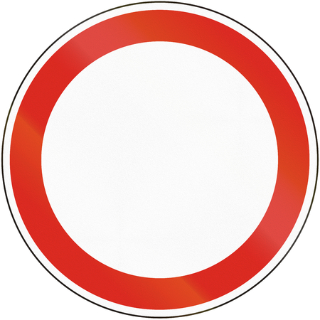 Hungarian regulatory road sign - No transit. Stock Photo