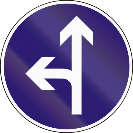 quadratic: Road sign used in Hungary - Straight or left ahead. Stock Photo