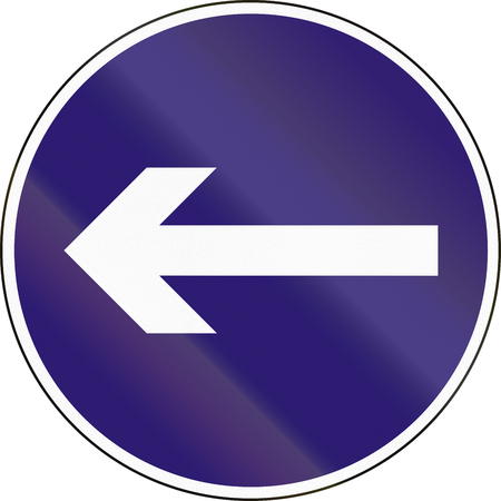 turn left sign: Road sign used in Hungary - Turn left. Stock Photo