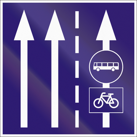 dividing line: Informatory Hungarian road sign - Two lanes with additional bus and bike lane.