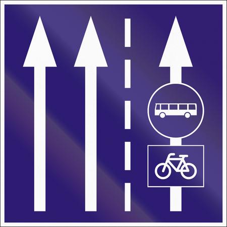 bike lane: Informatory Hungarian road sign - Two lanes with additional bus and bike lane.