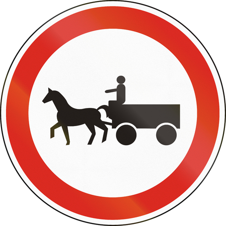 Hungarian regulatory road sign - No animal-drawn vehicles. Stock Photo