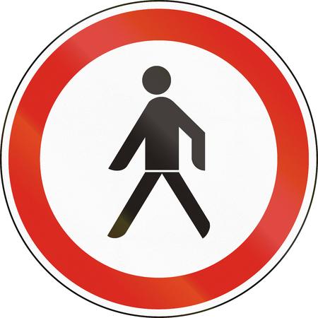 pedestrians: Hungarian regulatory road sign - No pedestrians.