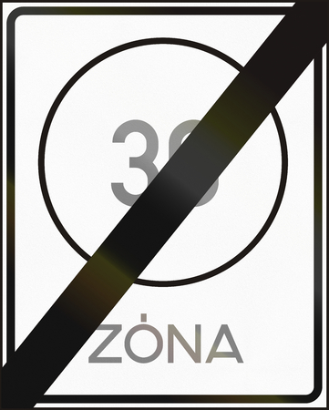 maximum: Road sign used in Hungary - End of maximum speed limit zone.