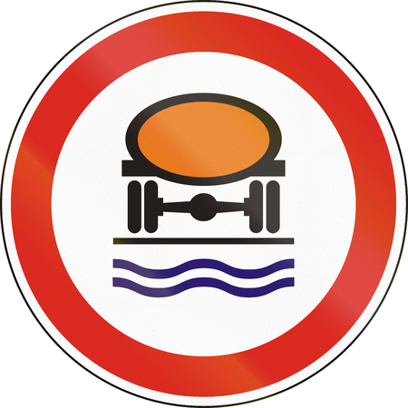 pollutants: Hungarian regulatory road sign - No vehicles carrying water pollutants.