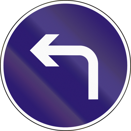 turn left sign: Road sign used in Hungary - Turn left ahead.