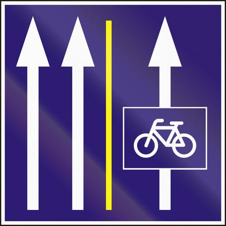 bike lane: Informatory Hungarian road sign - Two lanes with additional bike lane. Stock Photo