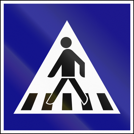 quadratic: Road sign used in Hungary - Pedestrian crossing.